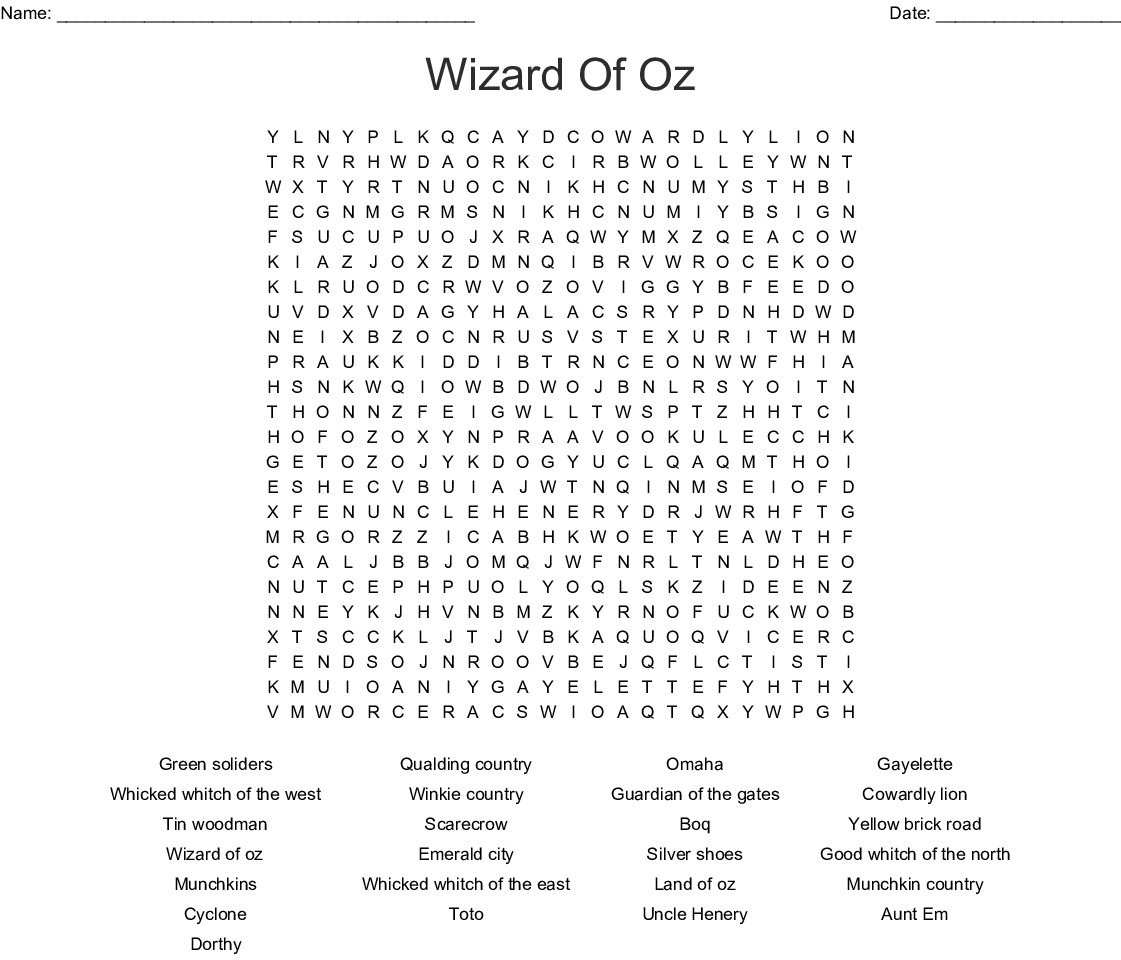 Wizard Of Oz Word Search - Wordmint