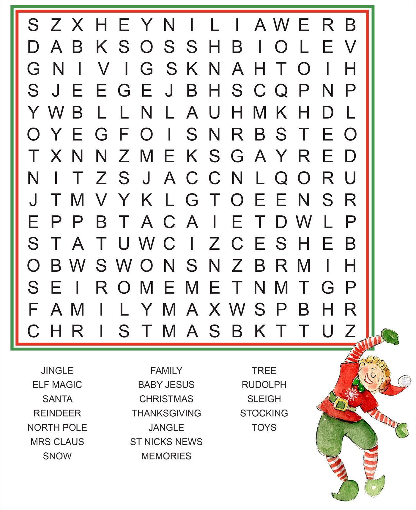 Word Search - Elf Ideas From The Elf Magic Elves | Elf Magic