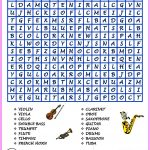 Word Search Musical Instruments Hard Version Pdf   | Musical