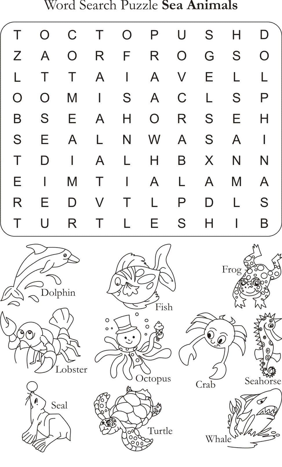 Word Search Puzzle Sea Animals | English Worksheets For Kids