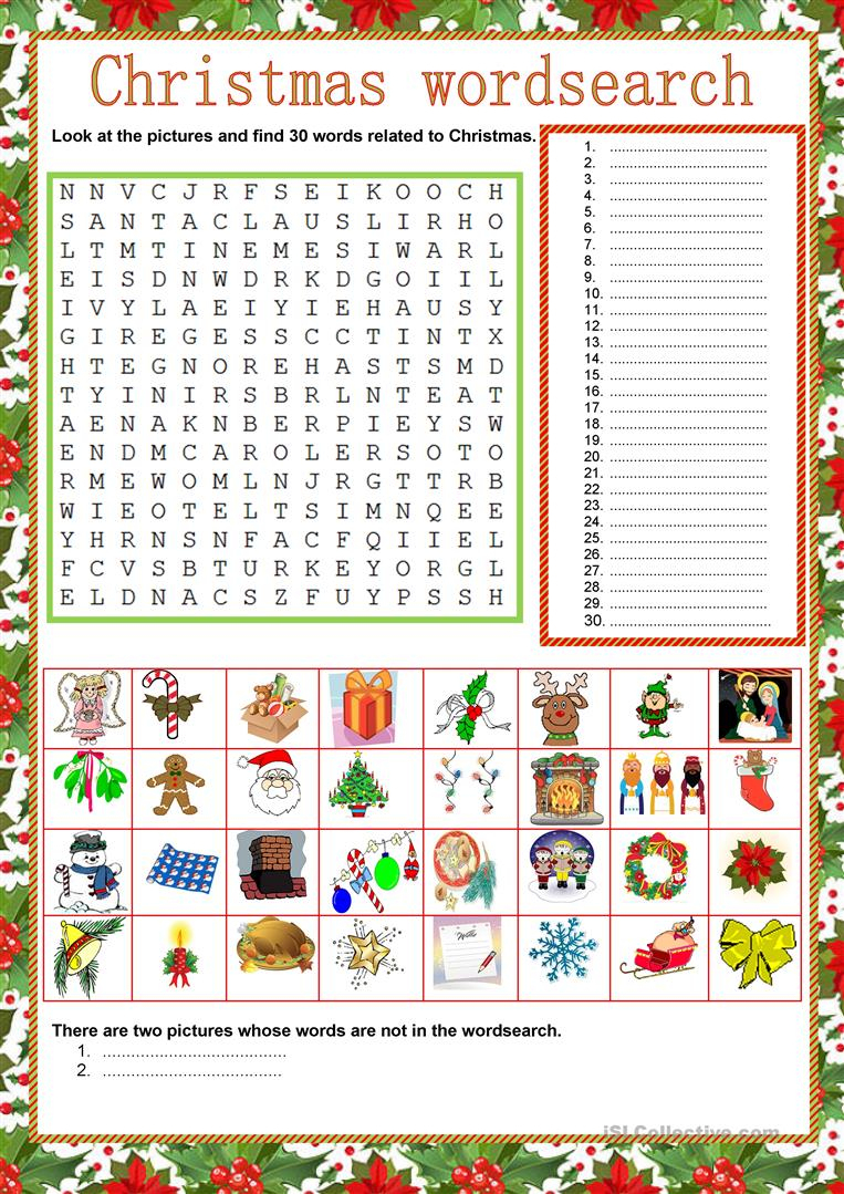 Wordsearch - Christmas - English Esl Worksheets For Distance