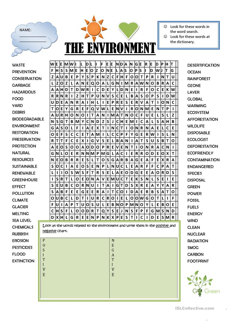 Wordsearch Environment - English Esl Worksheets For Distance