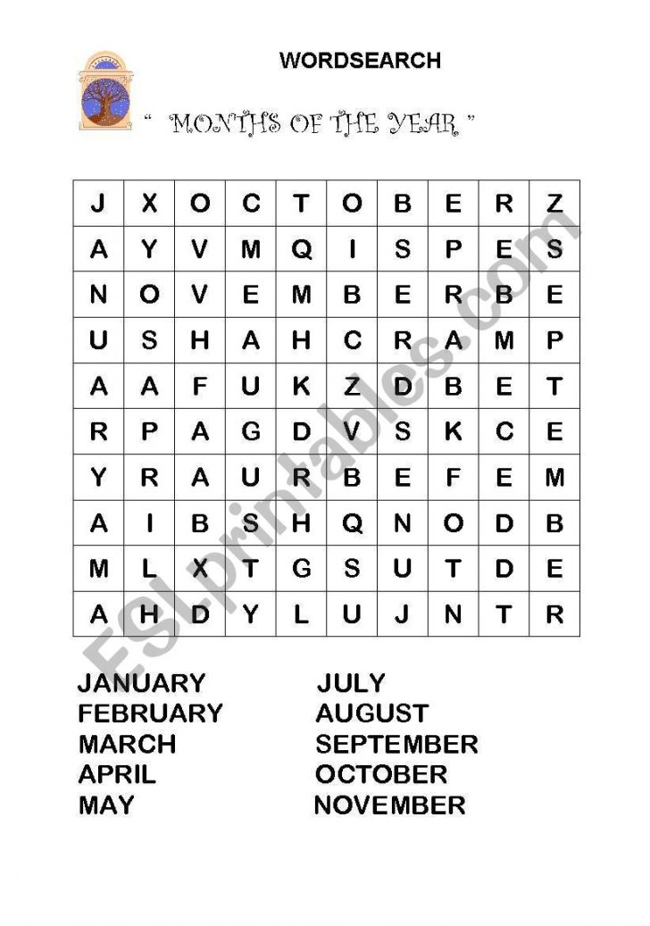 Months Of The Year Word Search Printable
