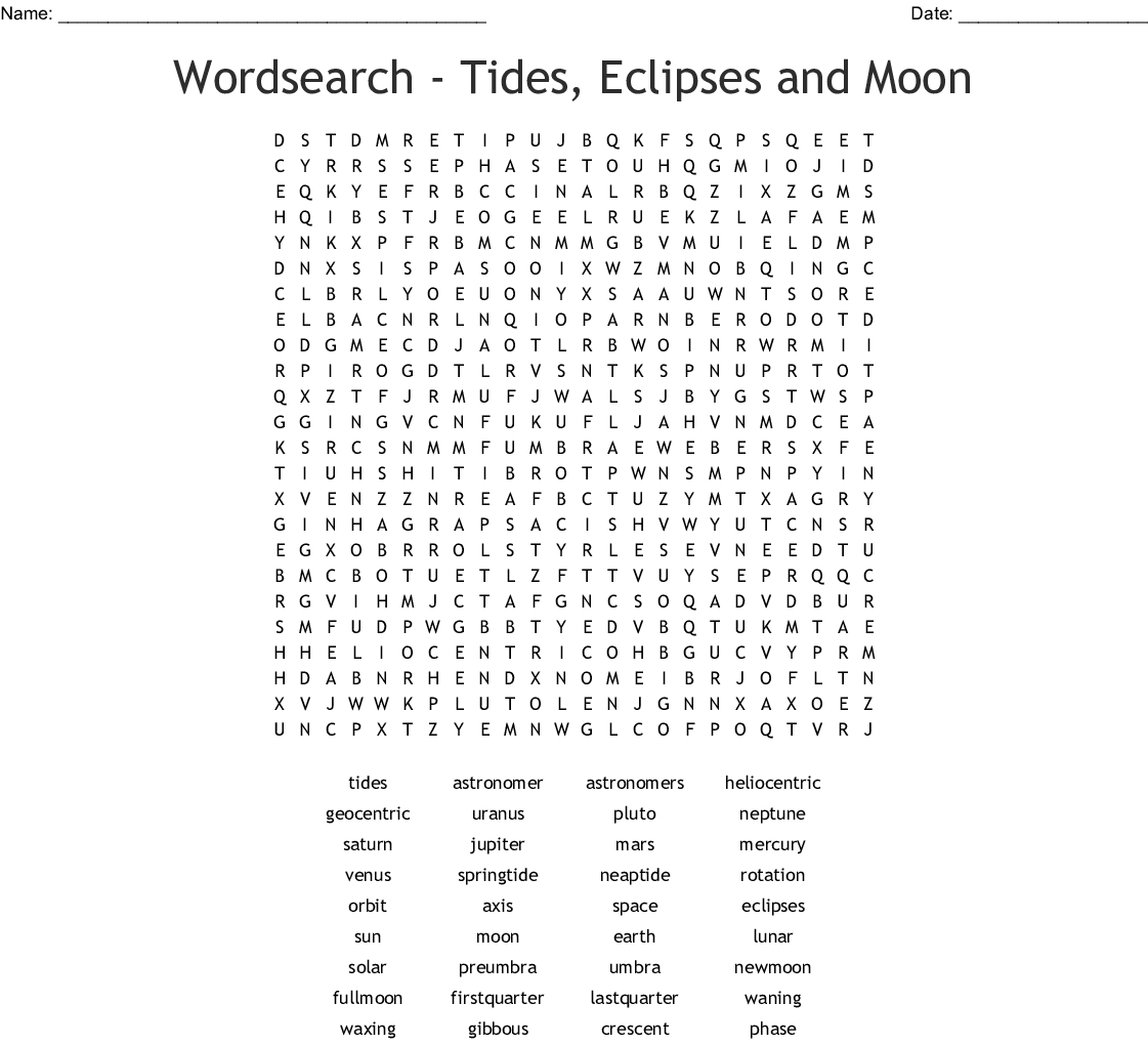 Wordsearch - Tides, Eclipses And Moon - Wordmint