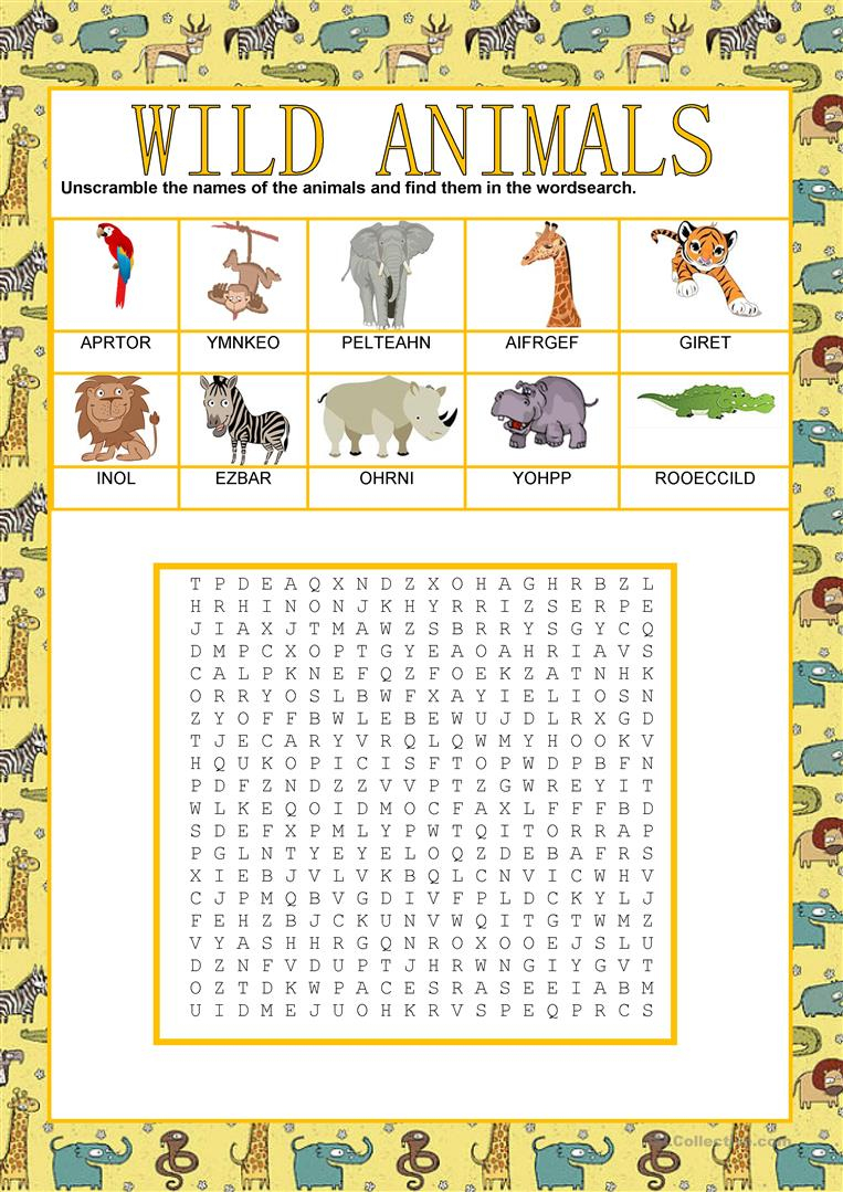 Wordsearch - Wild Animals 1 - English Esl Worksheets For