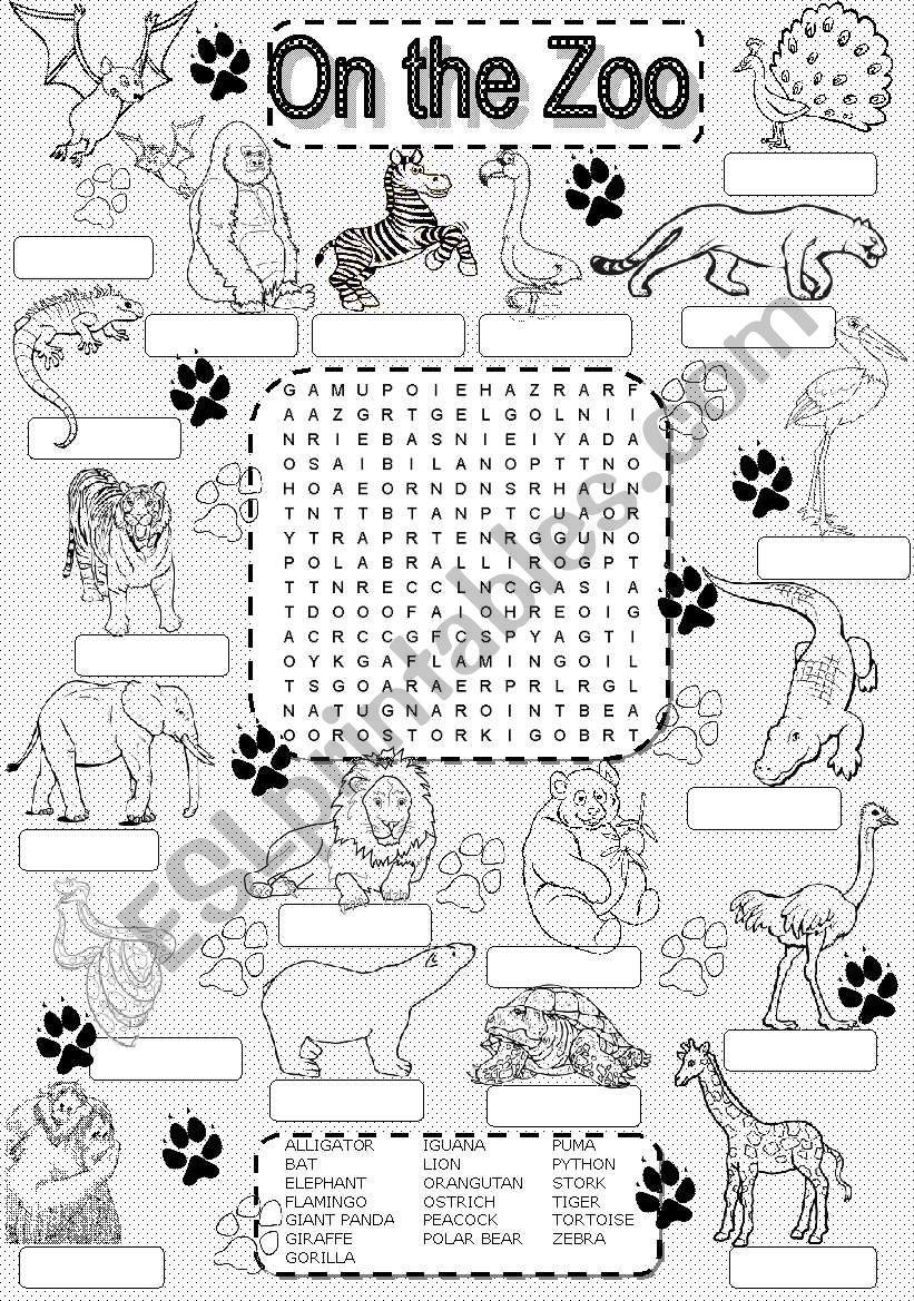 Wordsearch Zoo Animals - Esl Worksheetim Lety