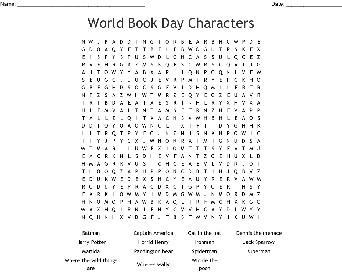 World Book Day Characters Word Search - Wordmint