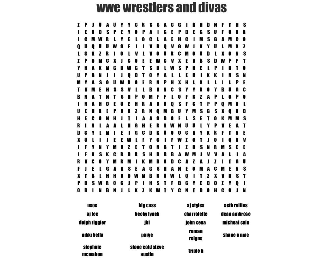 Wrestling Crosswords, Word Searches, Bingo Cards - Wordmint