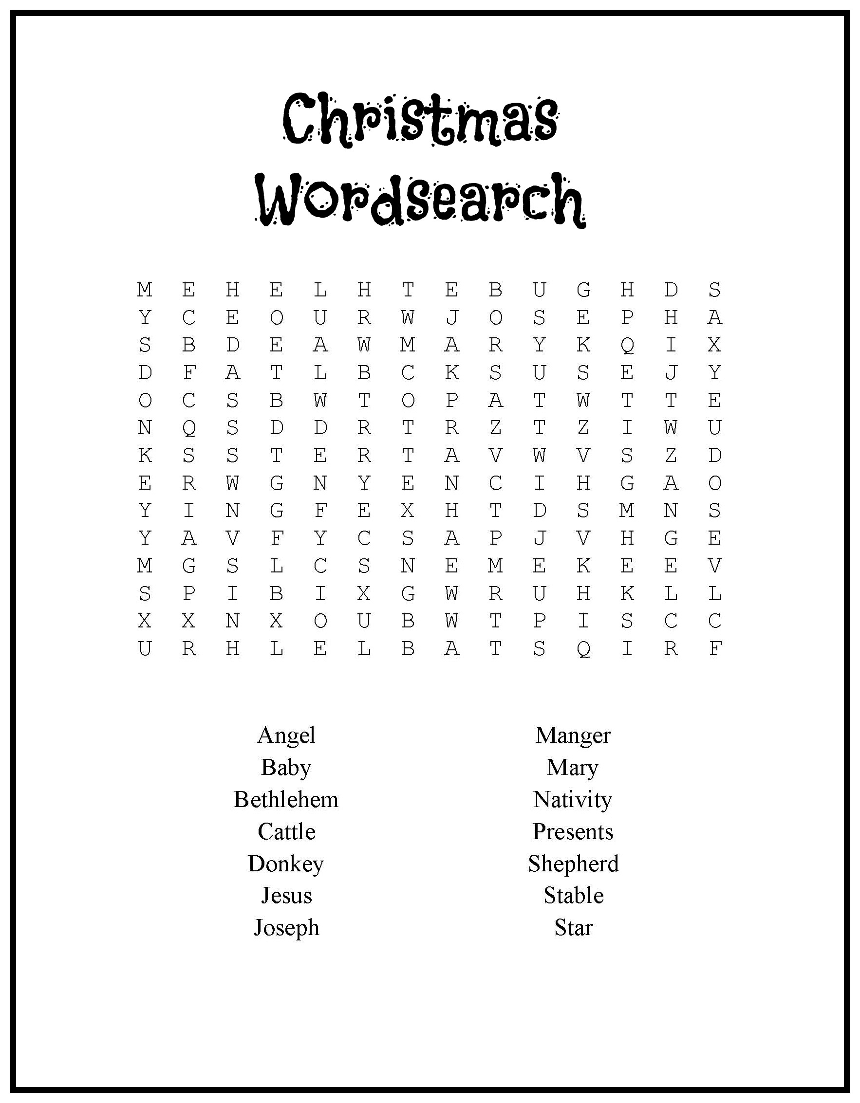 Wscrc37 | Hd++ | Free Word Search Christmas Religious