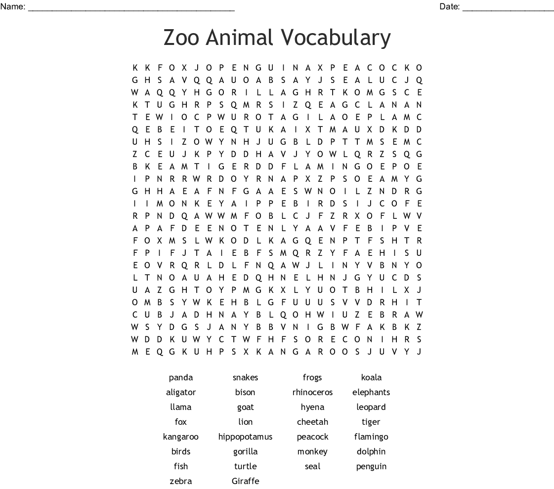 Zoo Animal Vocabulary Word Search - Wordmint