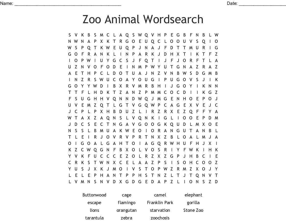 Zoo Animal Wordsearch - Wordmint