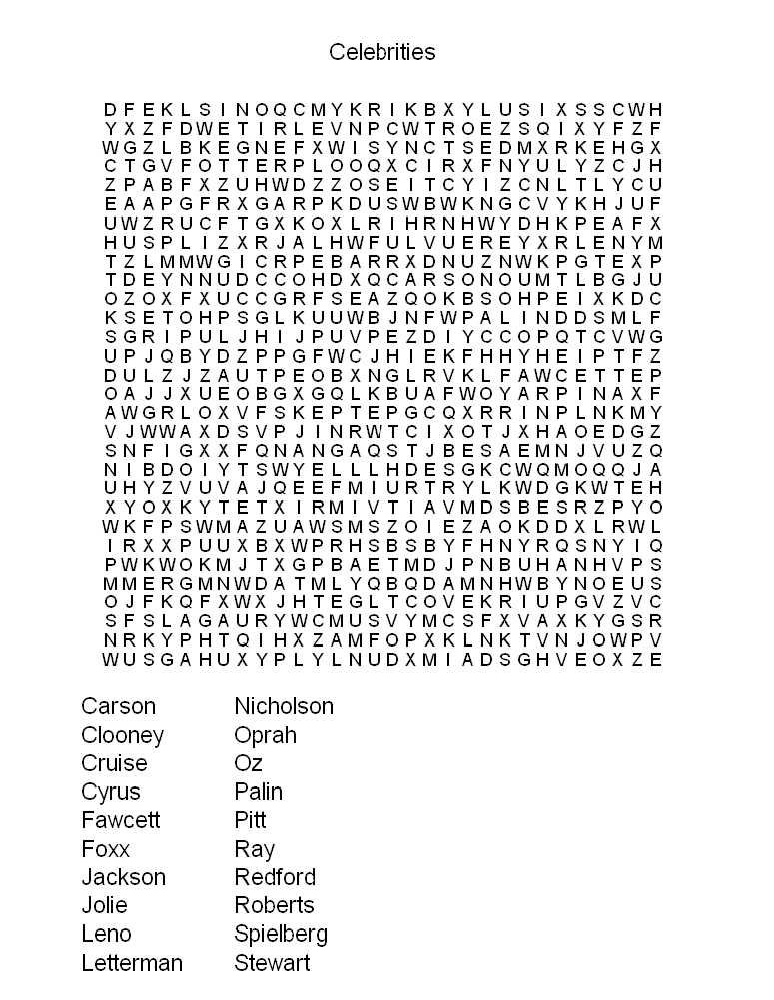 Free Printable Adult Word Searches